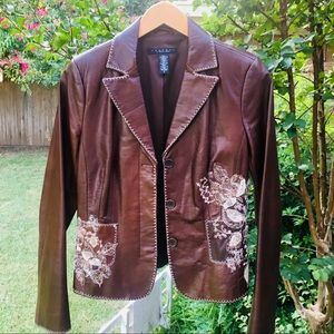 Laundry Embroidered Brown Soft Leather Jacket SALE